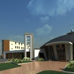 3b-   3D- Pohľad na zvonicu a vstup do kostola