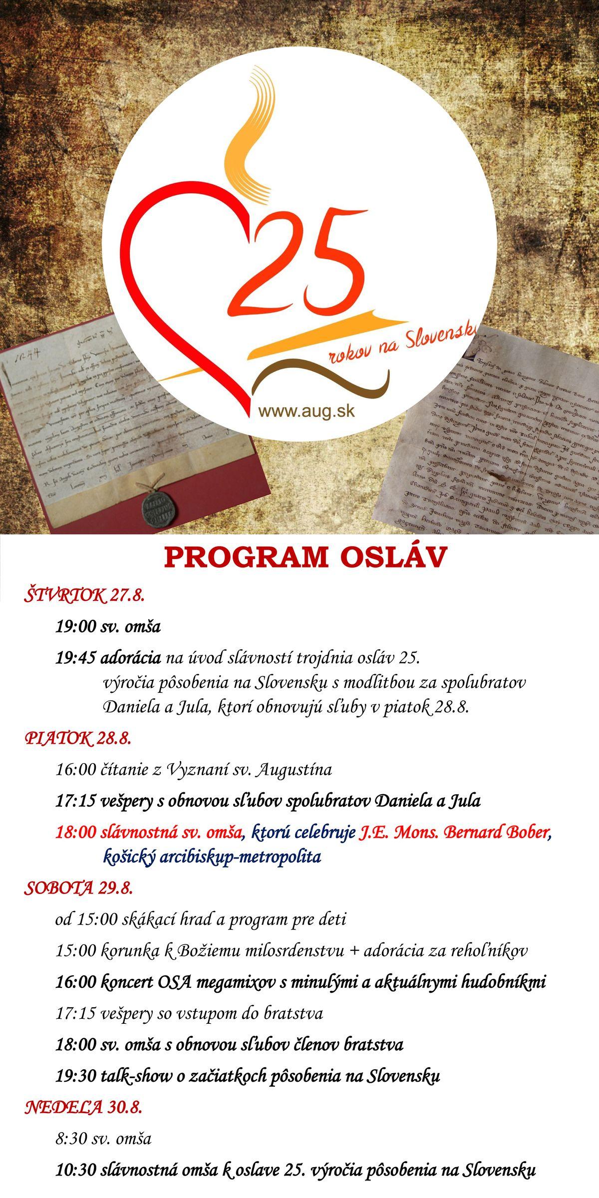 Slávnosť sv. Augustína a sv. Moniky + 25 rokov od založenia komunity OSA na Slovensku
